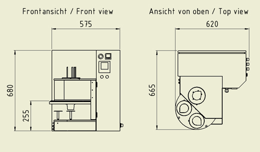 Dimensions of the sealing machine (drawing)
