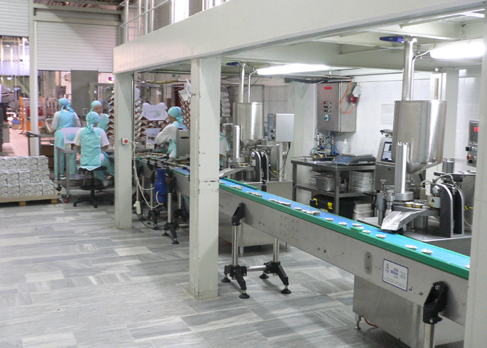 On site production line with three filling machines